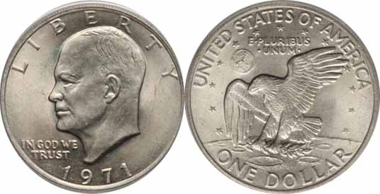 1971 Eisenhower Dollar Image Values