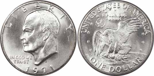 1971-S 40% Silver Eisenhower Dollar Image Values
