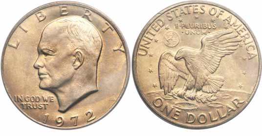 1972 Eisenhower Dollar Image Values