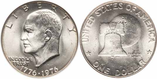 1776-1976-D Type I Eisenhower Dollar Image Values