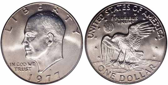 1977-D Eisnehower Dollar Image Values