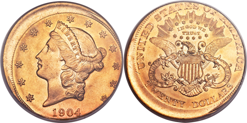 1904 $20 Liberty Double Eagle Struck 15% Off Center