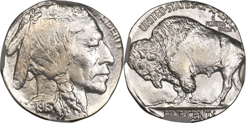 1913 5C Type Two Buffalo Nickel Struck on a Dime Planchet