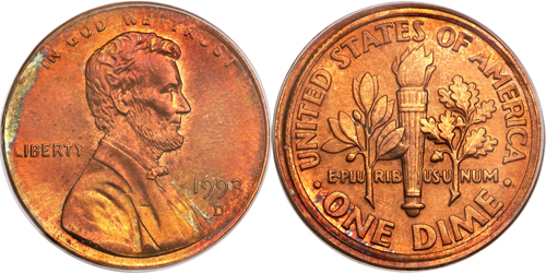 1993-D Lincoln Cent Struck with Dime Reverse Die