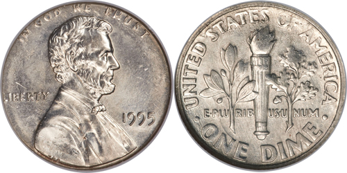 1995 10C Roosevelt Dime Struck With Cent Obverse Die