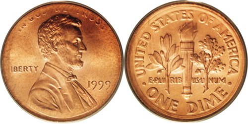 1999 Lincoln Cent Muled with Roosevelt Dime Reverse