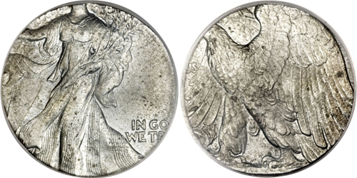Undated 50C Walking Liberty Half Struck on a Steel Cent Planchet