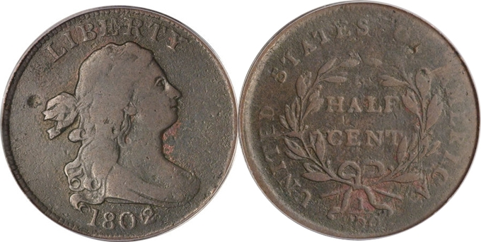 1802 over 0 Reverse of 1800 Draped Bust Half Cent value